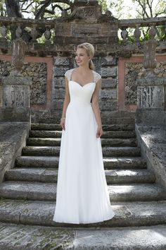 Style 3905 Sincerity collection 2016 #weddingdress #capsleeves