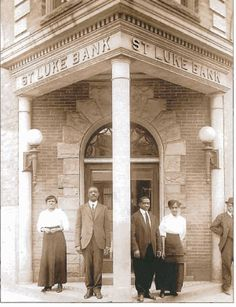 "The St. Luke Penny Savings Bank was founded in 1903 by Maggie Lena Walker. She was  the first African-American woman to establish, and serve as president of, a  US bank. She said: ""Let us put our money together; let us use our money; let us put our money out at usury among ourselves, and reap the benefit ourselves."""