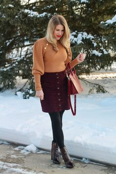 winter date night outfit, burgundy corduroy skirt, puff sleeve sweater, burgundy croc boots, teddy blake bag