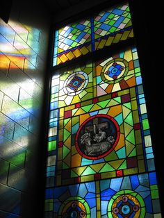 Stained glass in Burnett Center, Bethany College. Photo by Frank Ballew