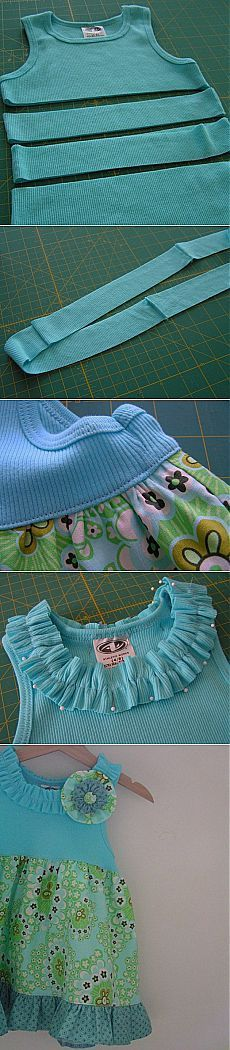 "Платье для девочки за 5 минут ""Easy dress from tshirt jeysey top and fabric skirt"", ""Little lizard king blue ribbon dress inspiration"", ""Abi's Disney Diy Clothing, Sewing Clothes, Clothing Patterns, Sewing Patterns, Dress Sewing, Sewing Hacks, Sewing Tutorials, Sewing Crafts, Sewing Projects"
