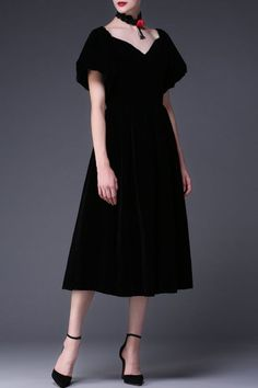 Cys Black A Line Sweetheart Neck Midi Dress | Midi Dresses at DEZZAL Click on picture to purchase!
