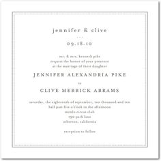 Pure Style - Thermography Wedding Invitations in TH Charcoal or TH Celery | Jenny Romanski