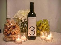 Wine bottle table number, candle holder with corks
