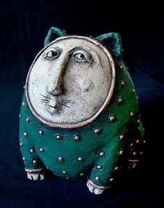 ceramic Greencat by Roman Khalilov