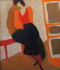 Victor Dynnikov (1939–2005),  Girl in a red blouse, 1993