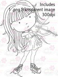 Violin Girl digital stamp download