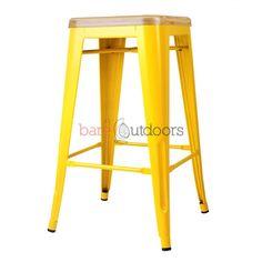 Tolix Bar Stool 65cm - XAVIER PAUCHARD REPLICA - Timber Seat - PREMIUM - Yellow