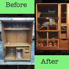 Ferret Habitat Makeover - Old Computer Hutch Makeover To Ferret House. Made It Myself In Two Weeks.