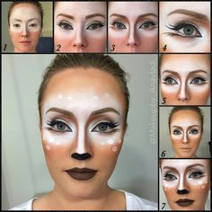 Deer Make-up Tutorial Mehr Maquillage - maquillage naturelle - maquillage tutoriel - maquillage mari Deer Costume Makeup, Costume Makeup Tutorial, Deer Makeup, Bambi Makeup, Cat Makeup, Prom Makeup, Wedding Makeup, Makeup Brush, Eyeshadow Makeup