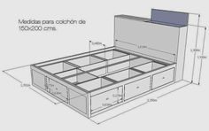 Discover thousands of images about dibujo cama doble con cajones, mesitas de noche y cabezal Diy Bedframe With Storage, Diy Bed Headboard, Bed Storage, Bedroom Storage, Bed Furniture, Pallet Furniture, Furniture Design, Bed Frame Design, Bedroom Bed Design