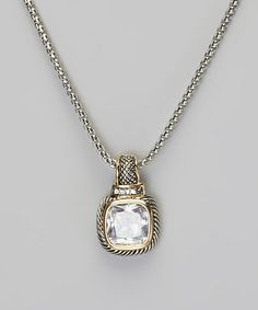 Take a look at this Silver & Gold Crystal Square Pendant Necklace by Fantasy World Jewelry on #zulily today!