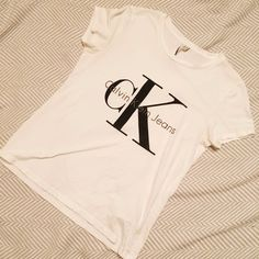 30b41d8266762 White Calvin Klein label t shirt Label reads size m  calvinklein  tshirt -  Depop
