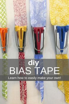 DIY Bias Tape: Single and Double Fold Tutorial - You Make it Simple - - Is there a project you're making that calls for bias tape? I'm going to show you how simple it is to make your own unique single and double fold tape. Diy Sewing Projects, Sewing Projects For Beginners, Sewing Hacks, Sewing Tutorials, Sewing Tips, Tutorial Sewing, Diy Tutorial, Sewing Machine Tension, Make Bias Tape