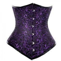 NaughtySmile Purple-Black Brocade Underbust Waist Training Corset WTUB-L- 5011 has Fabric- Sharp Shining  Polyester Tafeta| Oakland California Corsets. Zip 90009 California Long Torso