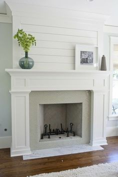 Indoor Fireplace Ideas - wood slates above mantle instead of brink or any kind of stone
