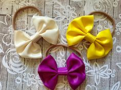 Satin Bows:,Orchid, Ivory, Yellow