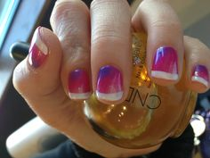Pretty funky tutti frutti French manicure CND shellac with additives