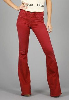 Red flared jeans