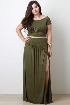 99b4d68331a Plus Size Shoulder Crop Top Olive Maxi Skirts, Long Skirts, Plus Size  Holiday Outfits