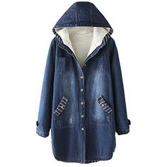 1172af96bc04 Partiss Women's Winter Thick Warm Cotton Padded Denim Jacket Coat, Chinese  S, Blue at Amazon Women's Coats Shop