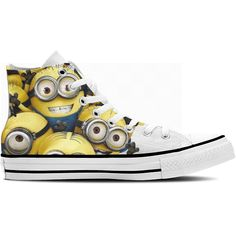 High Top Sneakers Classic hi-top trainers from ctcustom featuring Despicable Me Minions on a canvas upper. Complete with metal eyelets, a lace up front and a chunky sole.   Brand :Se7en Style :High Top Material :Canvas Available sizes :US 4 / Europe 36 - US 10 / Europe 44  Note: This is an Unisex product.