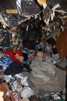 Hoarder job. Even the ceiling was falling apart!  #hoarding #declutter #organization