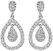 Neoglory Jewellery Silber Ohrringe hängend Tropfen mit Zirkonia weiß Damen
