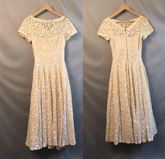 1950s Cream Lace Wedding Prom Dress // Tea Length // Cap Sleeve. $130.00, via Etsy.