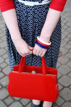 love the red purse!! Chronically Vintage