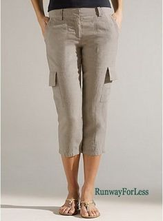 New $188 EILEEN FISHER Womens Size 20W 20 W Natural Cargo Organic Linen Pants  #EileenFisher #CaprisCropped