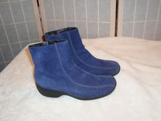 Nice Clarks Sz 8.5M Women's Royal Blue Suede Leather Bicycle Toe Ankle Boots #Clarks #AnkleBoots