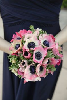 Bridesmaid bouquet (pink and white anemones from the garden; bride has white anemones and Peace roses).