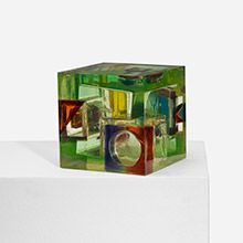 LEO AMINO untitled (from the Refractional series)  USA , 1968 cast resin 8.5 w x 8.5 d x 8.5 h inches estimate $3,000–5,000  This work is unique. Incised signature and date to reverse: [L.A. 3 68].  provenance: Acquired directly from the artist   Thence by descent literature: Leo Amino Sculpture 1945-1974, Gilbert, unpaginated, illustrates works from series