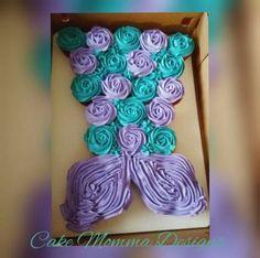 Cupcakes Cakes Birthday Fun Ideas Recipes and yummy cake tips Mermaid Cupcake Cake, Mermaid Birthday Cakes, Cupcake Cakes, Little Mermaid Cupcakes, Mermaid Tail Cake, Cupcake Birthday Cakes, Mermaid Birthday Party Ideas, Little Girl Birthday Cakes, 2 Birthday