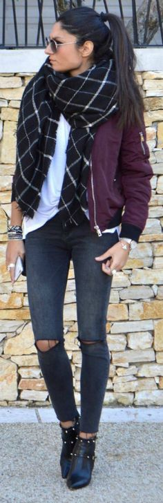 Federica L + oversized scarf trend + bomber jacket style + checked black scarf + plain white tee + burgundy bomber Brands not specified.