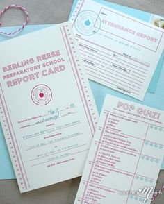 report card wedding invitations | One Little M