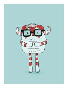 moster wearing glasses kids art  red and white on by lulufroot, $20.00