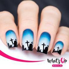 Graveyard Stencils for Nails, Halloween Nail Stickers, Nail Art, Nail Vinyls - - Easter Nail Designs, Toe Nail Designs, Nails Design, Nail Art Diy, Diy Nails, Glow Nails, Shellac Nails, Metallic Nail Polish, Acrylic Nails