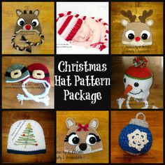 Holiday Hats - Crochet Pattern Collection 203 - Christmas Ornament, Christmas Tree, Rudolph Reindeer, Santa and Elf, Long Tail Elf, Snowman on Etsy, $10.00