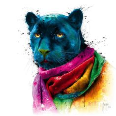 size: Art Print: Panther by Patrice Murciano : Copyright by International Graphics 1981 GmbH Pop Art, Murciano Art, Patrice Murciano, Street Art, Rainbow Art, Cat People, Colorful Drawings, Animal Paintings, Wrapped Canvas