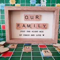 Our Family, Scrabble Tile Art Picture Framed, Gift for Family, Fun Family Gift - Our Family frame, currently on sale in my shop. Scrabble Letter Crafts, Scrabble Tile Crafts, Scrabble Frame, Scrabble Art, Scrabble Pieces Crafts, Box Frame Art, Diy Frame, Box Frames, Diy Christmas Gifts