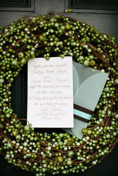 Aqua accents complemented the earthy, fall palette, like on the perfectly scripted invitations