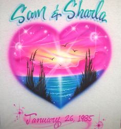 dbdf75a32 Airbrushed Bright Heart Shaped Beach Scene Personalized Custom T-Shirt Any  Size #AirbrushedTee #. Airbrush Apparel