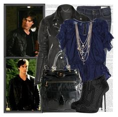 """Damon Salvatore"" by elenadobrev90 ❤ liked on Polyvore featuring AllSaints, Burberry, Rebecca Taylor, Balenciaga and Giuseppe Zanotti"