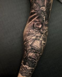 Tattoo Sleeve Themes, Nautical Tattoo Sleeve, Space Tattoo Sleeve, Full Sleeve Tattoo Design, Leg Sleeve Tattoo, Forarm Tattoos, Cool Arm Tattoos, Map Tattoos, Best Sleeve Tattoos