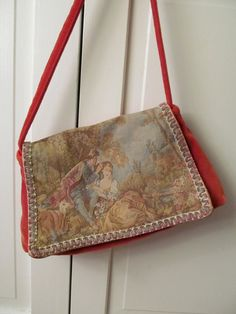 Vintage Red Velvet  Brocade Tapestry CARPETBAGS OF AMERICA purse. $20.00, via Etsy.