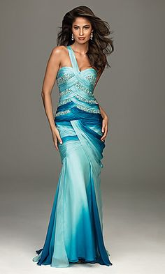 This dress is just so .. wow! Unique one shoulder beaded gown by Allure.