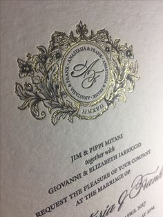 Gold foiling on black ink letterpress a stunning combination Letter Press, Gold Foil, Art Pieces, Marriage, Invitations, Ink, Lettering, Personalized Items, Accessories