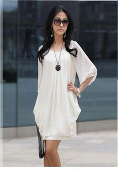 Chiffon Scoop Neck Sleeves Fairy Style Solid Color Dress For Women by sammy dress Cheap Dresses, Cute Dresses, Casual Dresses, Women's Dresses, Dresses Online, Inexpensive Dresses, Sleeve Dresses, Dress Sleeves, Work Dresses